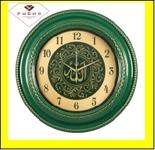 """6141-107 (5) Часы настенные круг d=60см, корпус зеленый с золотом """"Аллах"""""""