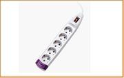 Удл.колодка 5р х  3м с з/к Сетевой фильтр S-GSU5-3 GREY 3м (Пвс 3*0,75) 5 гнезд, с/з, 10А защита от перенапряжения, короткого замыкания Uniel