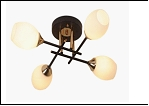 """Люстра """"рожки разн. 4"""" .. светильник потолочный 04729/4MH (6) BK+FGD E27 520*520*200"""