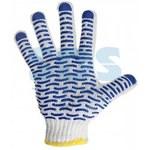 Перчатки ХБ с нанесением ПВХ (волна), 4 нити, 55-56гр., 7,5 класс вязки