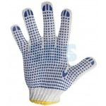 Перчатки ХБ с нанесением ПВХ (точка), 4 нити, 63-65гр., 7,5класс вязки REXANT #(/)