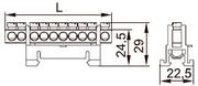 Шина распр. 6х9мм   63. 10/1 на изол. стойка Шина нулевая DIN 6х9 10групп с изолятором тип Стойка