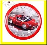 """6026-221 (10) Часы настенные круг d=29см, корпус красный """"Спорткар красный"""""""