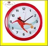 """6026-256 (10) Часы настенные круг d=29см, корпус красный """"Футболист"""""""