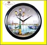 """6026-81B (10) Часы настенные круг d=29см, корпус черный """"Фонарь"""""""