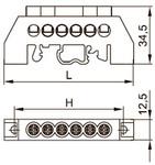 Шина распр. 8х12мм  125. 06/1 в изоляторе нейлон. корп. на DIN-рейку Шина нулевая нейлоновый корпус ШНИ 8х12 на DIN-рейку 6-отверстий IEK  (1/20/1000)