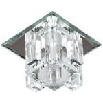 """СТ об.хрусталь G9 прозрачный, серебро, серебро квадрат светильник DK 2 SL/WH  ЭРА декор""""хрустальный куб с вертик столб."""" ,220V,40W, зеркальный/прозрач"""