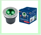 Св. влаг/защ грунт хром LED   3,0Вт Зелен. 220В UNIEL светильник ULU-B10A-/GREEN IP67 GREY  светодиодный уличный. тротуар  встраиваемый. свет. Корпу