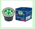 Св. влаг/защ грунт хром LED   6,0Вт Зелен. 220В UNIEL светильник ULU-B11A/GREEN IP67 GREY  светодиодный уличный. тротуар   встраиваемый. свет. Корпу