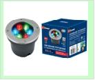 Св. влаг/защ грунт хром LED   6,0Вт RGB 220В UNIEL светильник ULU-B11A/RGB IP67 GREY  светодиодный уличный. тротуар   встраиваемый. RGB свет. Корпус