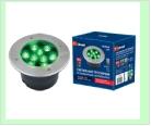 Св. влаг/защ грунт хром LED   9,0Вт RGB 220В UNIEL светильник ULU-B12A-/GREEN IP67 GREY  светодиодный уличный. тротуар   встраиваемый. Зеленый свет.