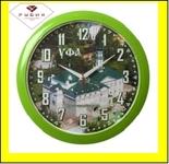 """6026-104 (10) Часы настенные круг d=29см, корпус зеленый """"Уфа. Первая соборная мечеть"""""""