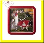 """7667-103 (10) Часы настенные квадрат 29х29см, корпус красный """"Уфа. Мечеть Люля-Тюльпан"""""""