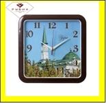 """7667-105 (10) Часы настенные квадрат 29х29см, корпус коричневый """"Уфа. Первая соборная мечеть"""""""