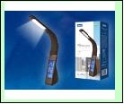 Св. настол. LED  7Вт Подставка светильник настольный TLD-550 Brown//260Lm/4500K/Dimmer Светильник настольный c часами, календарем, термометром, 7W. Се
