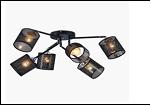 "Люстра ""ретро абажур 6"" .. светильник потолочный 5536/6XA (4) BK+CR E27 740*300"