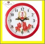 "6026-123 (10) Часы настенные круг d=29см, корпус красный ""9 мая"""