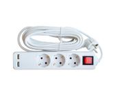 Удл.колодка 3р х  5м с з/к с выкл. 10A ASD Удлинитель 3гн с 3/К 5м   2-x USB IP20 3GSU-5-SMART   (1/25)