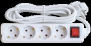 Удл.колодка 4р х  5м с з/к с выкл. 10A ASD Удлинитель 4гн с 3/К 5м   IP20 4GS-5-SMART   (1/25)
